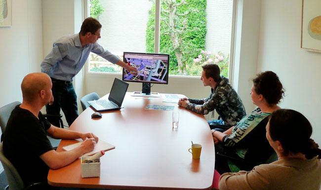 Het RDG engineering team op kantoor
