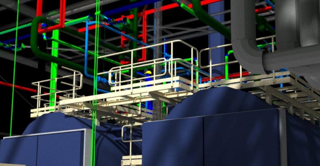 Detail van warmtekrachtcentrale ontwerp