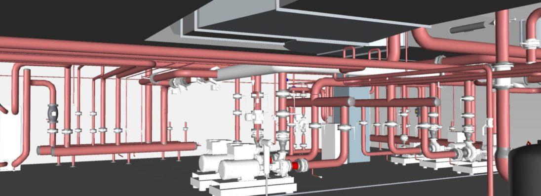 Technische ruimte uitgewerkt in Autodesk Revit